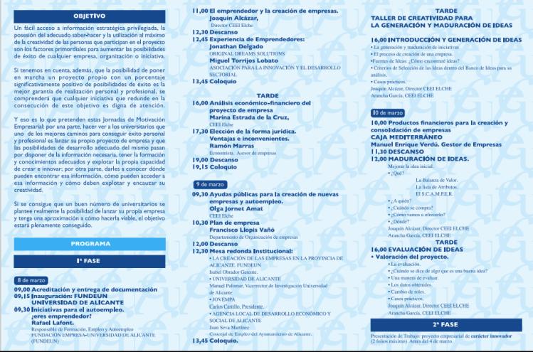 Jornadas de Motivación Empresarial Fundeun Universidad de Alicante